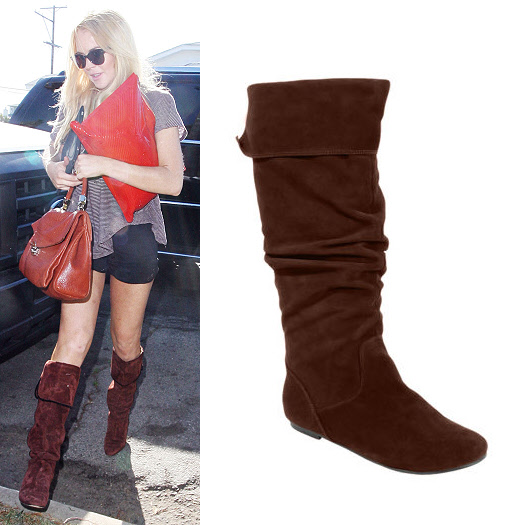 Lindsay Lohan in brown suede boots - look for less | Bootsaholic