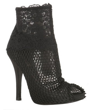 Dolce & Gabbana black mesh and floral lace peep toe booties