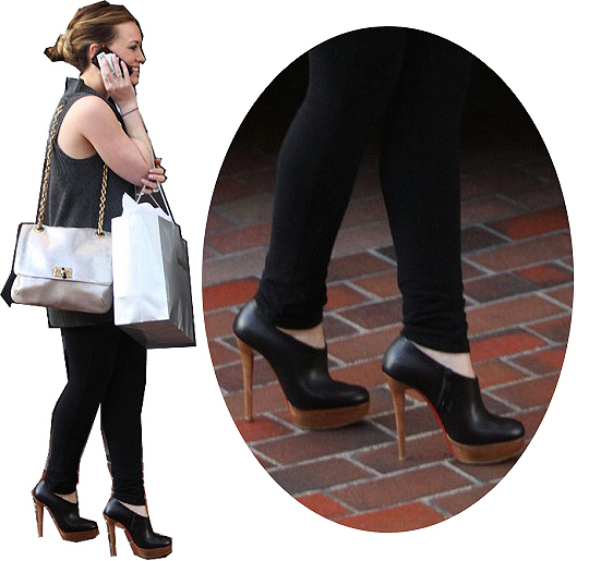 Hilary Duff platform booties