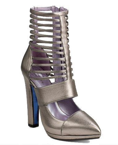 Versace Metallic Strappy Platform Ankle Boots