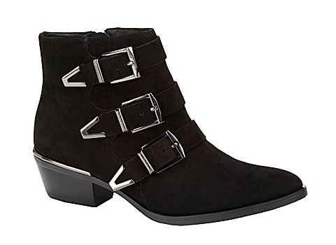 suede leather buckle booties